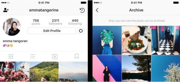 Instagram already allows you to save in a private archive the images you don't want to delete