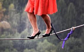 The longest distance on a tightrope with heels